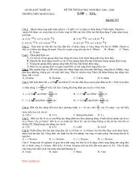 Đề thi thử Đại học môn Vật lý trường THPT Hoàng Mai năm học 2008-2009