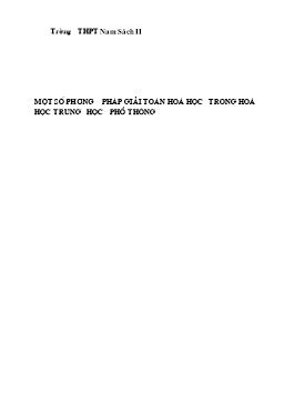 Một số phương pháp giải toán Hóa học trong Hóa học THPT