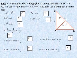 Bài giảng Hệ thức lượng giác - Toán lớp 9