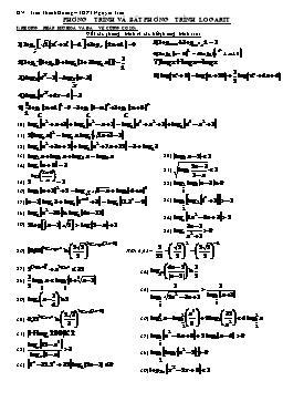 Bài tập Phương trình và bất phương trình logarit - Trần Thanh Hoàng