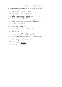 Bài tập tự luyện về Hàm số lượng giác