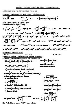 Các bài tập về Phương trình và bất phương trình logarit - Trần Thanh Hoàng