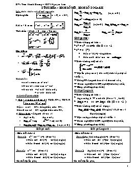 Các dạng bài tập Lũy thừa - Hàm số mũ - Hàm số logarit - Trần Thanh Hoàng
