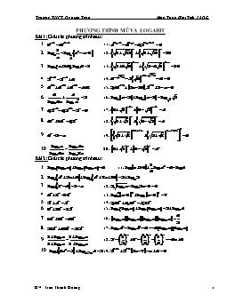 Các dạng bài tập Phương trình mũ và logarit - Trần Thanh Hoàng