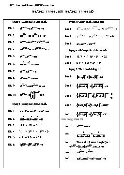 Các dạng Phương trình, bất phương trình mũ và logarit - Trần Thanh Hoàng