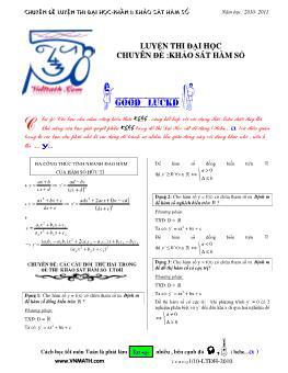 Chuyên đề luyện thi Đại học - Phần I: Khảo sát hàm số