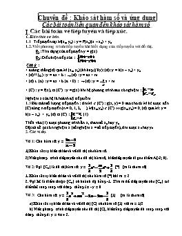 Chuyên đề ôn thi Đại học môn Toán - Khảo sát hàm số và ứng dụng