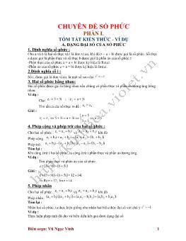 Chuyên đề Số phức luyện thi Đại học - Vũ Ngọc Vinh