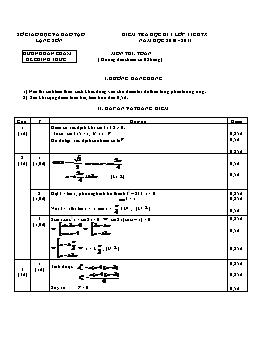 Đáp án Đề kiểm tra học kì I lớp 11 môn Toán GDTX năm học 2010-2011 tỉnh Lạng Sơn