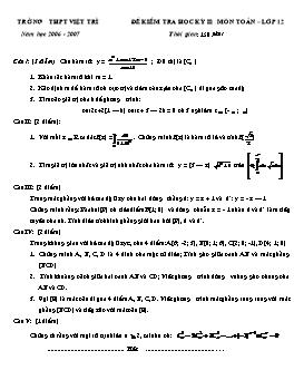 Đề kiểm tra học kỳ II môn Toán lớp 12 năm học 2006-2007 - THPT Việt Trì