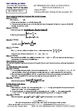Đề thi khảo sát chất lượng lớp 12 môn Toán khối B và D năm 2011 - THPT Lê Văn Hưu