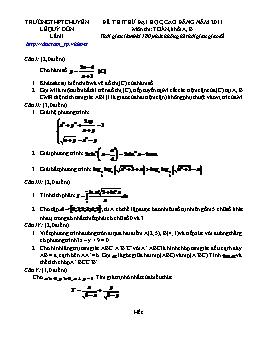 Đề thi thử Đại học, Cao đẳng lần II môn Toán khối A, B năm 2011 - THPT Chuyên Lê Quý Đôn