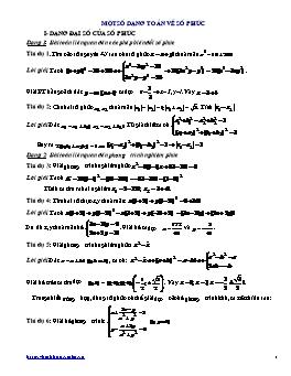 Một số dạng toán về số phức hay năm 2010