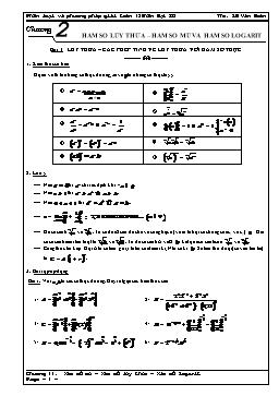 Phân loại và phương pháp giải Toán 12 - Hàm số lũy thừa - Hàm số mũ và hàm số logarit - Lê Văn Đoàn