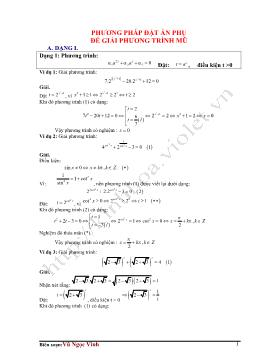 Phương pháp đặt ẩn phụ để giải phương trình mũ