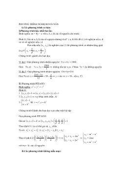 Phương pháp giải phương trình có nghiệm nguyên