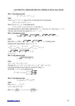 Phương pháp Giải phương trình - Hệ phương trình (Sử dụng đạo hàm)