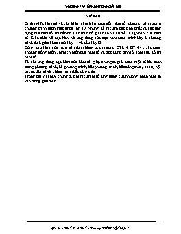 Phương pháp hàm số trong giải toán - Đinh Bạt Vinh