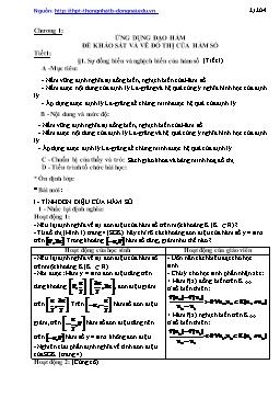 Sử dụng đạo hàm khảo sát và vẽ đồ thị của hàm số - Đại số 12