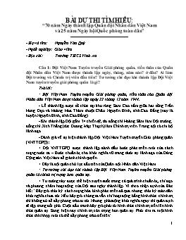"""Bài dự thi tìm hiểu: """"70 năm Ngày thành lập Quân đội Nhân dân Việt Nam và 25 năm Ngày hội Quốc phòng toàn dân"""" - Nguyễn Văn Quý"""
