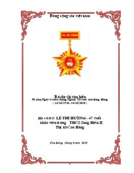 Bài dự thi tìm hiểu 80 năm Ngày truyền thống Ngành Tổ chức xây dựng Đảng (14/10/1930 - 14/10/2010) - Lê Thị Hương