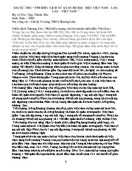 """Bài dự thi : """"Tìm hiểu lịch sử quan hệ đặc biệt Việt Nam – Lào, Lào – Việt Nam ''"""