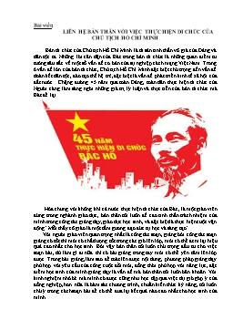 Bài viết Liên hệ bản thân với việc thực hiện di chúc của Chủ tịch Hồ Chí Minh