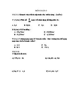 Đề kiểm tra môn Toán tuần 7 lớp 5