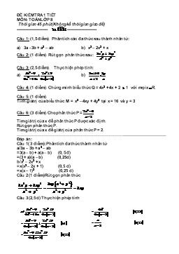 Đề kiểm tra một tiết môn Toán lớp 8