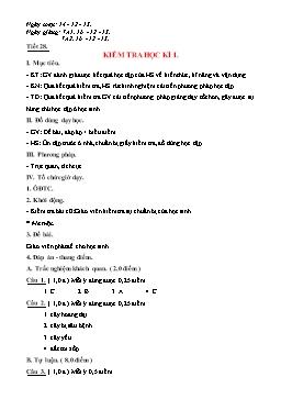 Giáo án Công nghệ 7 - Tiết 28: Kiểm tra học kỳ I