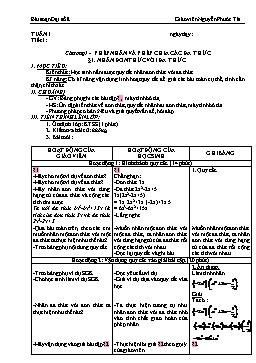 Giáo án Đại số 8 tuần 1+2 - Nguyễn Phước Tài