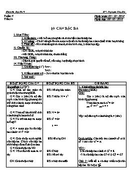 Giáo án Đại số 9 - Tiết 14: Căn bậc ba - Năm học 2014-2015