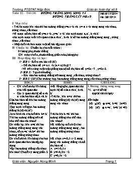Giáo án Đại số 9 - Tuần 12 - Tiết 24: Đường thẳng song song và đường thẳng cắt nhau - Nguyễn Hùng Minh