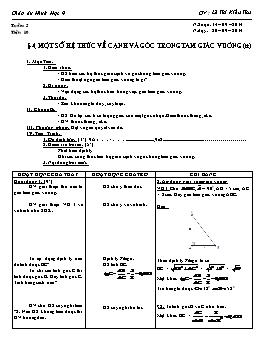 Giáo án Hình học 9 - Tiết 10: Một số hệ thức về cạnh và góc trong tam giác vuông (tt) - Lê Thị Kiều Thu