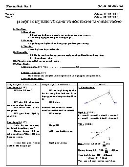 Giáo án Hình học 9 - Tiết 9: Một số hệ thức về cạnh và góc trong tam giác vuông - Lê Thị Kiều Thu