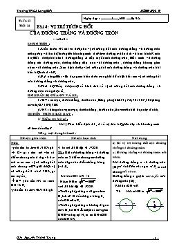 Giáo án Hình học 9 - Tuần 12 - Tiết 24: Vị trí tương đối của đường thẳng và đường tròn - Nguyễn Thành Trung