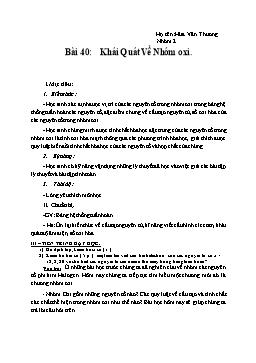 Giáo án Hóa học 12 - Bài 40: Khái quát về nhóm Oxi - Hứa Văn Thương