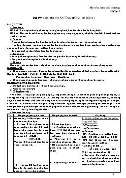 Giáo án Hóa học 12 - Bài 49: Tốc độ phản ứng hóa học (tiết 1) - Hứa Văn Thương