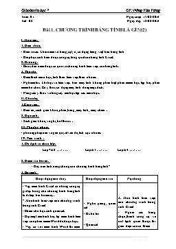 Giáo án Tin học 7 - Tiết 2: Chương trình bảng tính là gì? (tt) - Nông Văn Vững