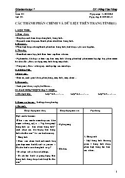 Giáo án Tin học 7 - Tiết 5: Các thành phần chính và dữ liệu trên trang tính - Nông Văn Vững