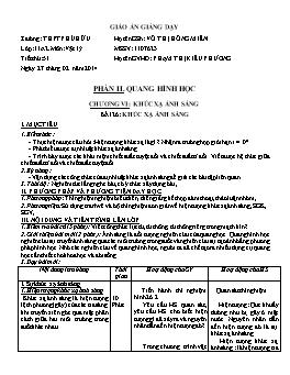 Giáo án Vật lý 11 - Tiết 51: Khúc xạ ánh sáng - Phạm Thị Kiều Phương