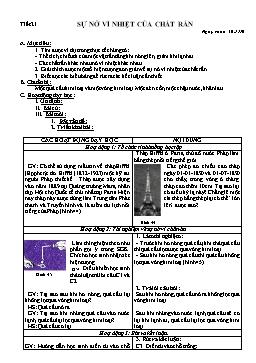 Giáo án Vật lý 6 - Tiết 21: Sự nở vì nhiệt của chất rắn