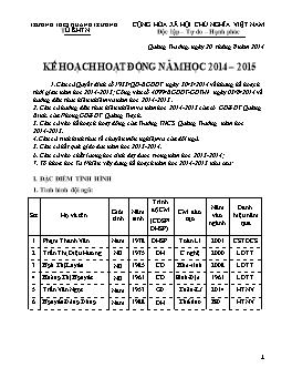 Kế hoạch hoạt động năm học 2014 – 2015 - Nguyễn Văn Mai