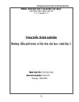 Sáng kiến kinh nghiệm - Hướng dẫn giải toán có lời văn cho học sinh lớp 1 - Trần Thị Thúy