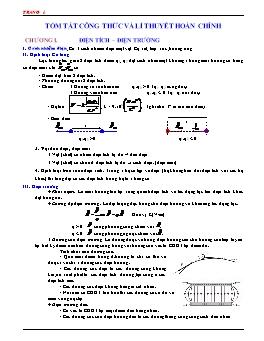 Tóm tắt công thức và lí thuyết hoàn chỉnh môn Vật lý lớp 11