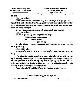 Đề thi học sinh giỏi môn Ngữ văn Lớp 9 năm học 2014-2015 - Trường THCS Ấm Thượng