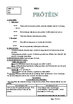 Giáo án Sinh học Lớp 9 - Tiết 18: Protein