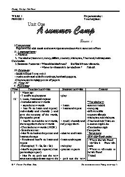 Giáo án Tiếng Anh Lớp 5 - Tuần 1: A summer Camp