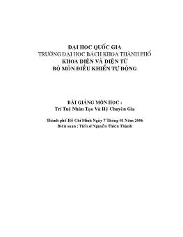 Bài giảng môn Trí tuệ nhân tạo và hệ chuyên gia - Nguyễn Thiện Thành