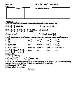 Bài kiểm tra số 1 - Môn Đại số 7